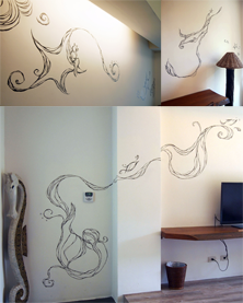 Wall paintings in hostel, Ji Ji Township, Taiwan