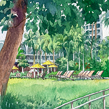 Singapore Shangri-La Hotel - Banyan Tree Deck (close-up, left)