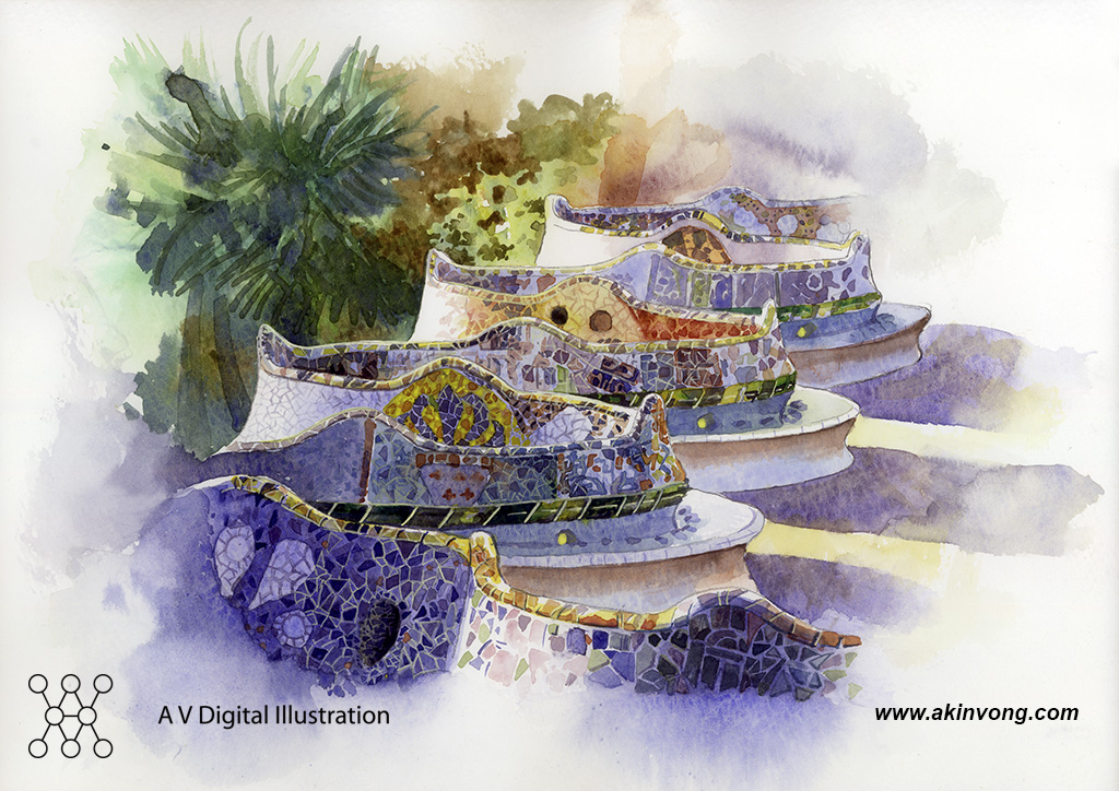 water color(Gaudi Architerture) 01