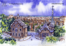 water color(Gaudi Architerture) 03