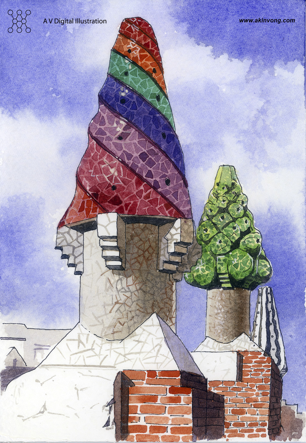 water color(Gaudi Architerture) 04