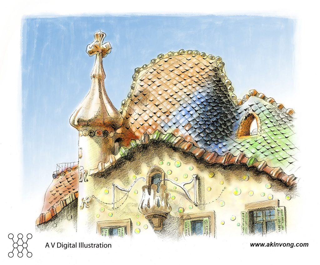 water color(Gaudi Architerture)01