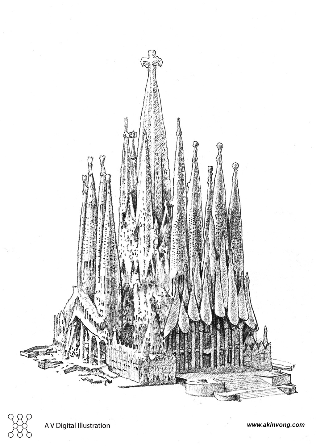 Pencil Sketch (Gaudi Architerture)03