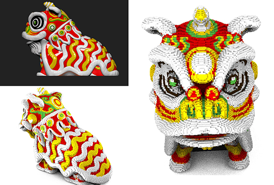 3d CNY Lion modeling for Lego
