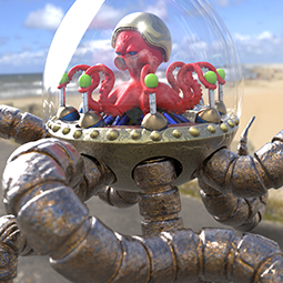 Space Octopus on the beach