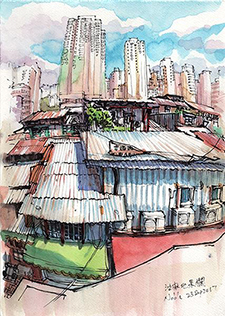 油麻地果欄鐵皮屋頂 (Yau Ma Tei fruit stalls roof top)