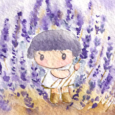 Little girl's lavender garden